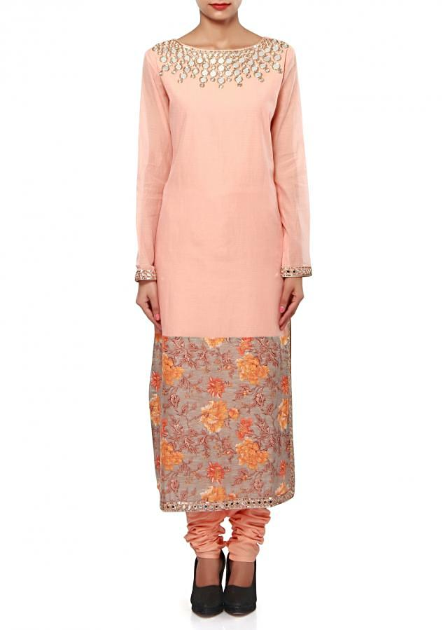 Straight suit in peach features in mirror embroidery only on Kalki