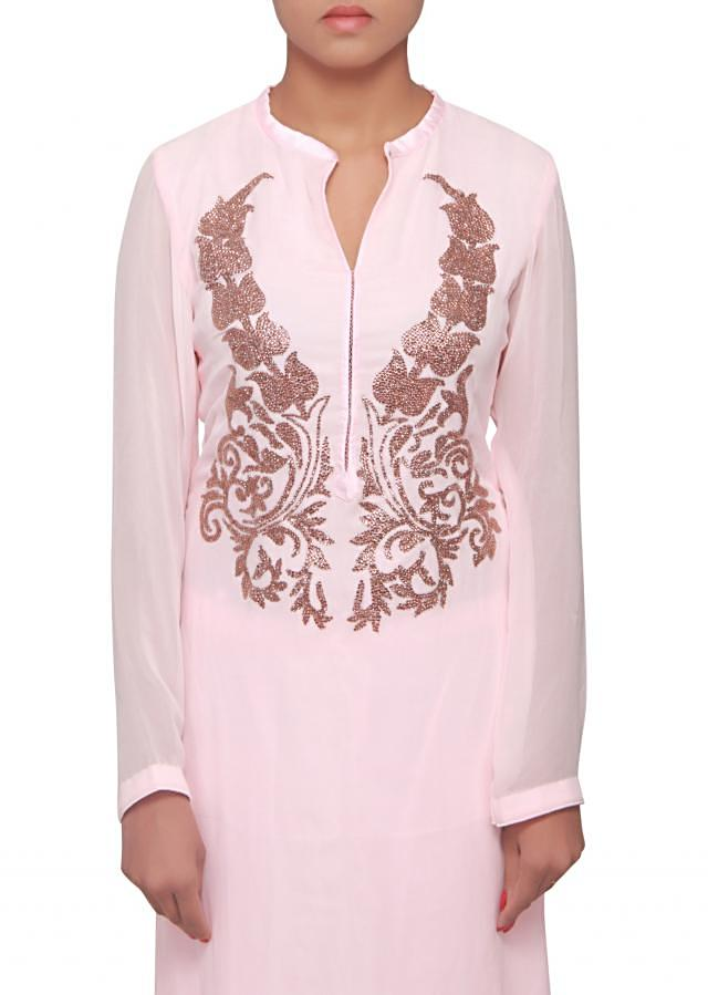 Straight suit in pink embroidered in kundan only on Kalki
