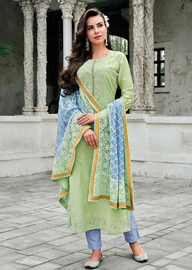 Straight Suit In Pista Green Cotton Silk Adorn With Embroidered Placket And Butti In Thread Online - Kalki Fashion
