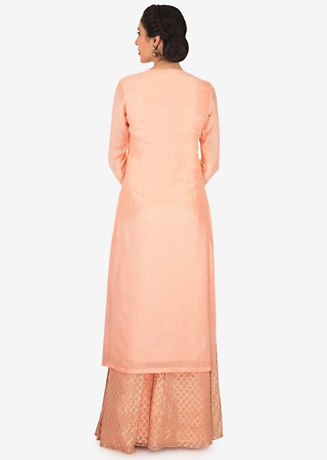 Straight palazzo suit in baby pink with cut dana and french knot embroidery only on Kalki