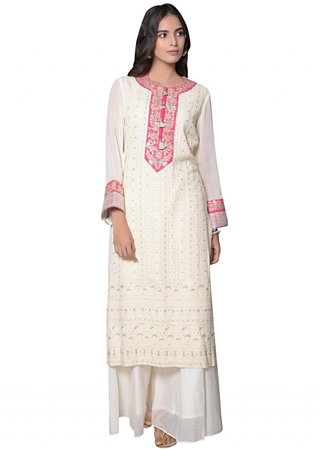 A line kurti in off white lucknowi thread embroidery