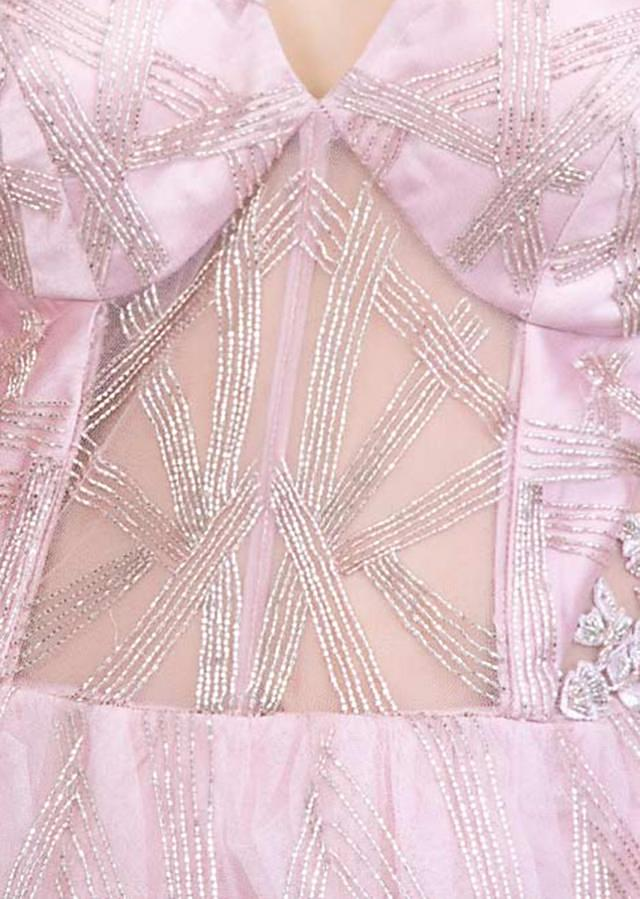 Mauve Pink Strapless Gown In Sheer Net With Shoulder Embroidered Cape Online - Kalki Fashion