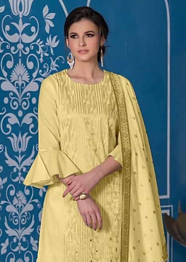 Straw Yellow Unstitched Suit Set In Cotton With Zari Embroidery In Geometric Pattern Online - Kalki Fashion