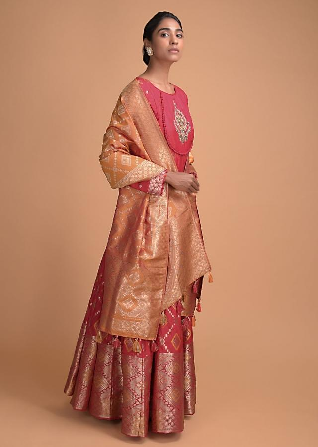 Strawberry Red Anarkali Suit With Weaved Geometric Buttis And Embellished Motif Online - Kalki Fashion
