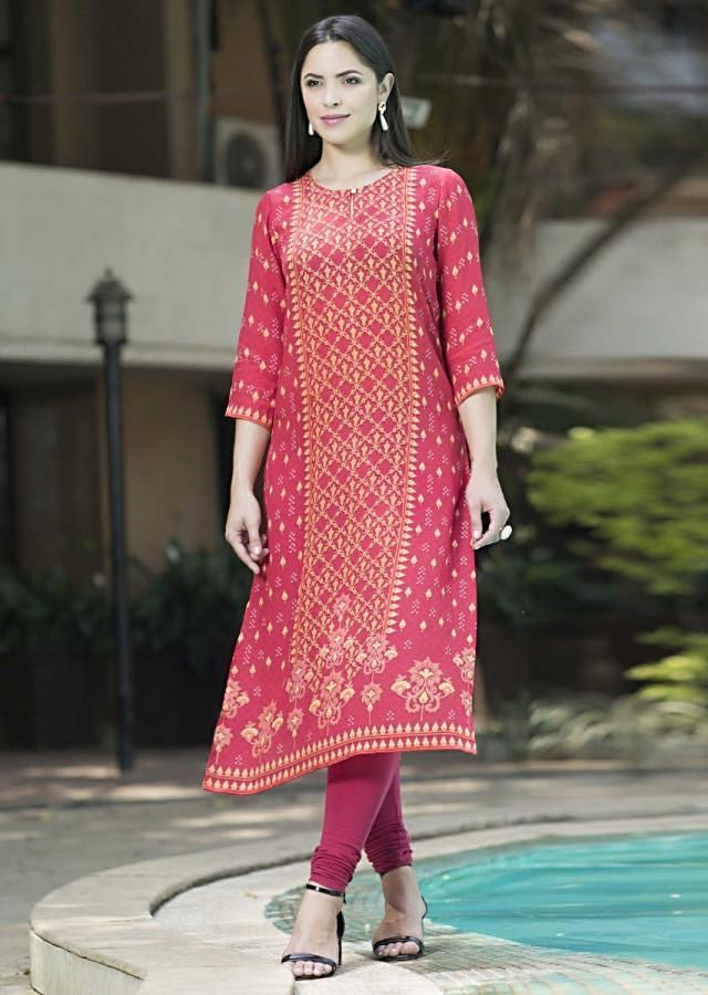 Strawberry Red Kurti With Leaf Printed Buttis And Moroccan Printed Placket Online - Kalki Fashion