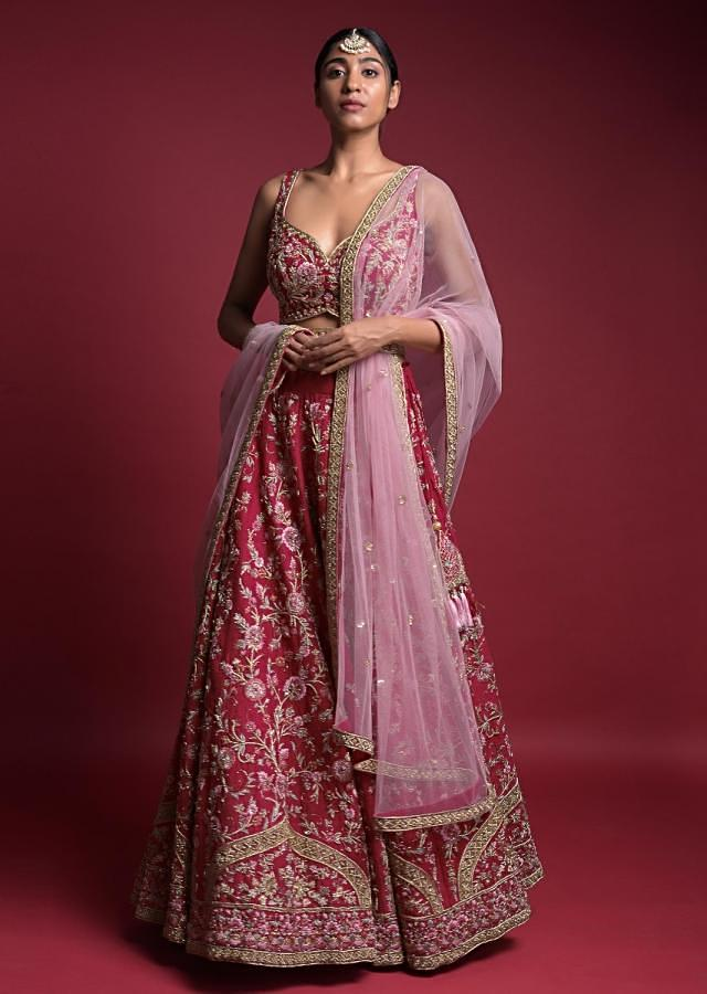 Strawberry Red Lehenga Choli In Raw Silk With Resham And Zardozi Embroidered Floral Jaal Online - Kalki Fashion