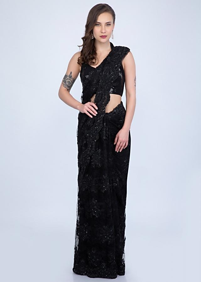 Stunning Black chantilly lace saree embellished with sequins, cut dana and pearls only on Kalki