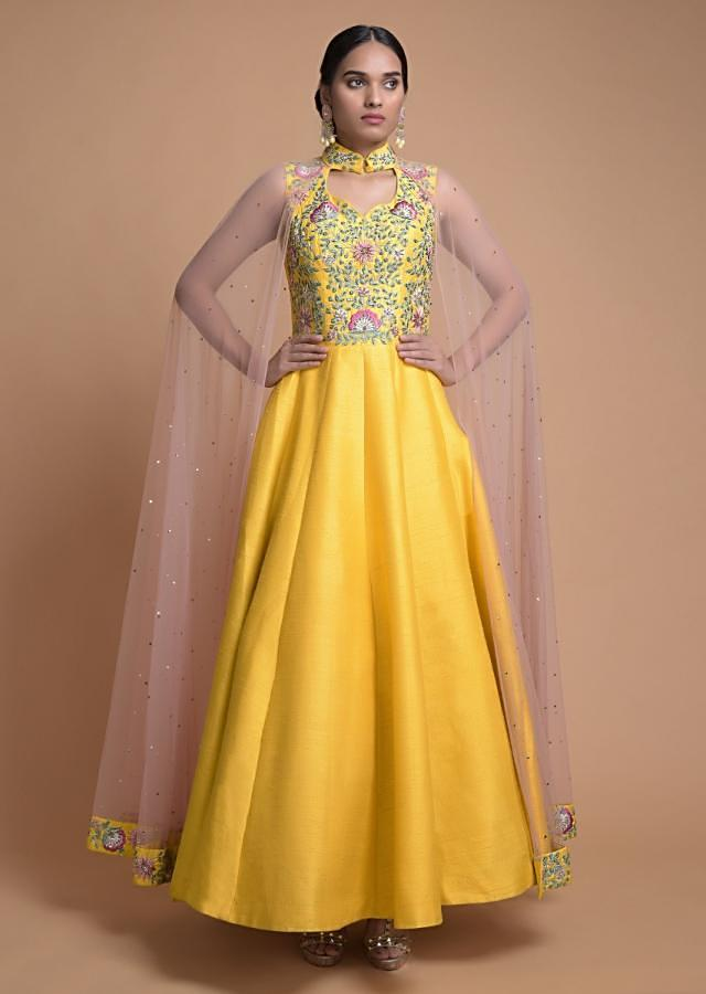 Sun Yellow Anarkali Suit With Attached Net Cape And Floral Embroidery Online - Kalki Fashion