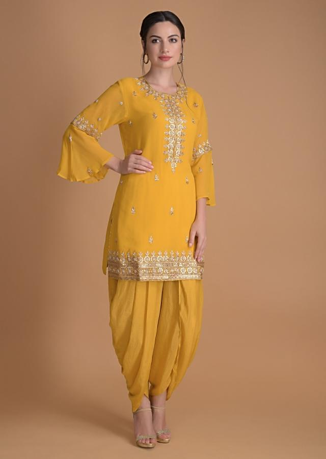 Sun Yellow Dhoti Suit In Georgette With Gotta, Zardosi And Pearls In Floral Pattern Online - Kalki Fashion