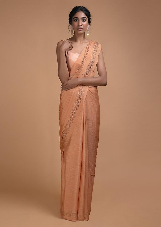 Sunset Peach Saree In Chiffon With Badla Buttis All Over Online - Kalki Fashion