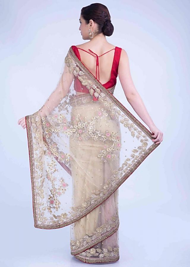 Tan Beige Saree In Net With Red Raw Silk Border Online - Kalki Fashion