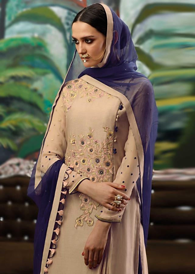 Tan brown semi stitched suit in resham embroidery