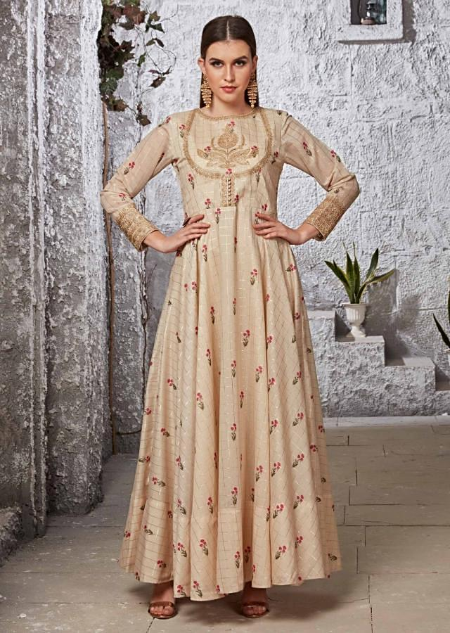 Tan Cream Anarkali Suit Embellished With Zari Embroidery And Floral Printed Butti Online - Kalki Fashion