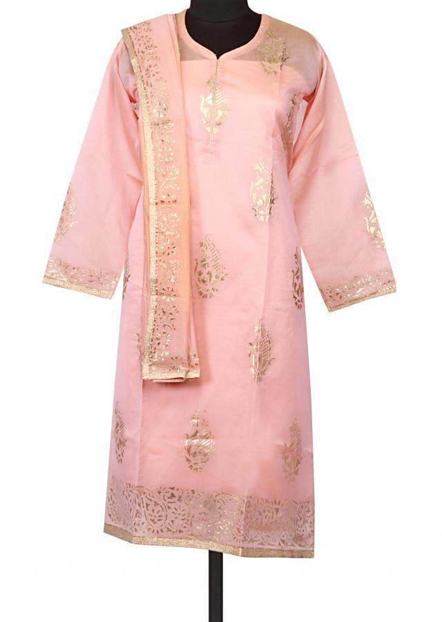Tan pink semi stitched suit in embossed foil printed butti
