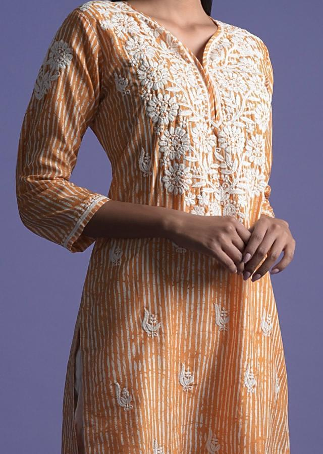 Tangerine Orange Kurta In Crepe With Striped Print  And Thread Embroidery Online - Kalki Fashion