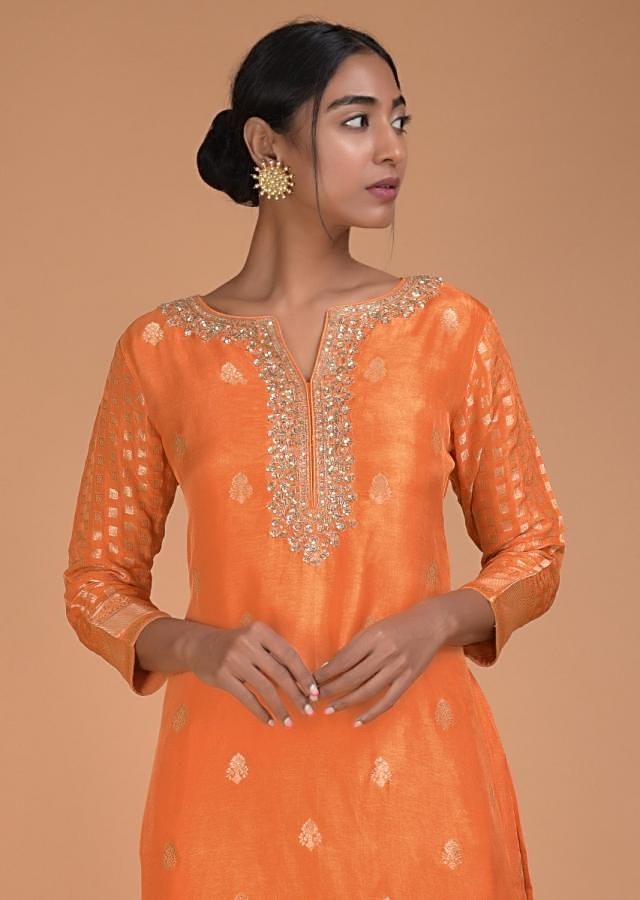 Tangerine Orange Straight Suit With Weaved Buttis And Embroidery Work Online - Kalki Fashion