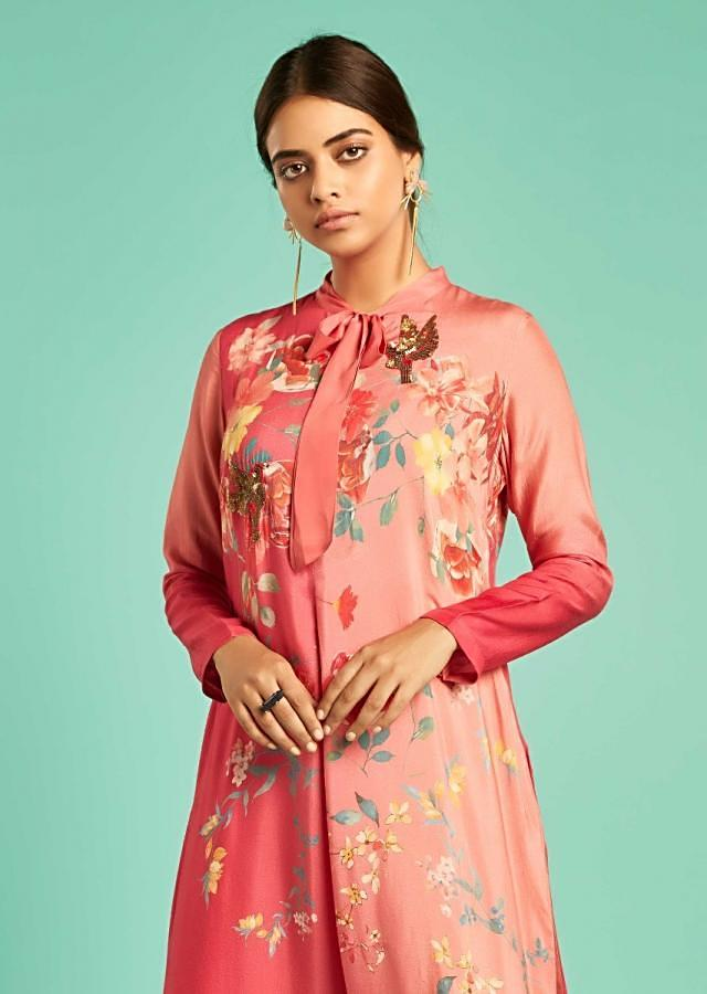 Tango Pink And Magenta Shaded Straight Cut Suit With Floral Print