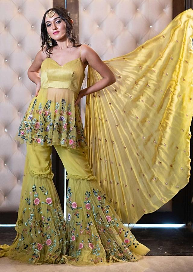 Tanya Sharma in Kalki Citrus Green Net Top With Matching Sharara With Zinnia Embroidery
