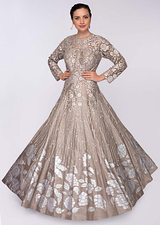 Taupe Grey Gown In Raw Silk With Embroidered Net Bodice Online - Kalki Fashion