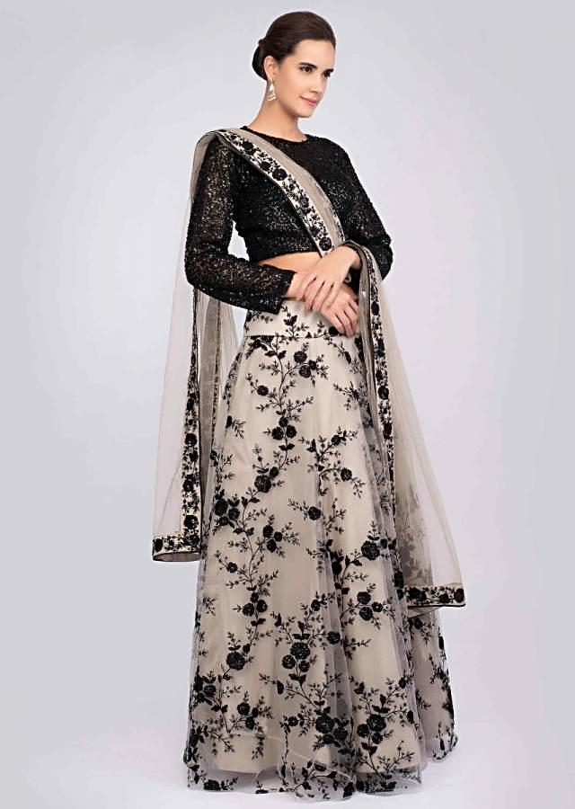 Taupe Grey Lehenga In Resham Embroidered Net And Dupatta With Contrasting Black Crop Top Online - Kalki Fashion