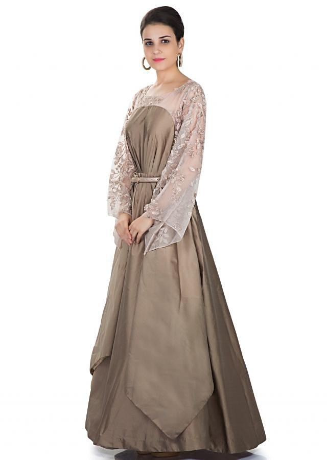 Taupe Grey Taffeta and Fancy Fabric Gown Featuring Embroidered Net only on Kalki