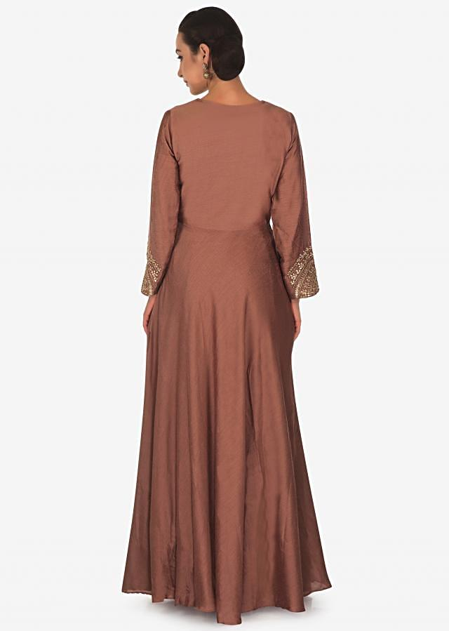 Tawny brownanarkali suit in silk with gotta patch and zardosi embroidery only on Kalki