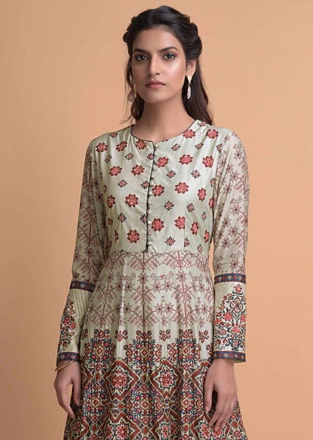 Tea Green Anarkali Suit In Cotton With Multi Colored Floral Print And Embroidery Work Online - Kalki Fashion