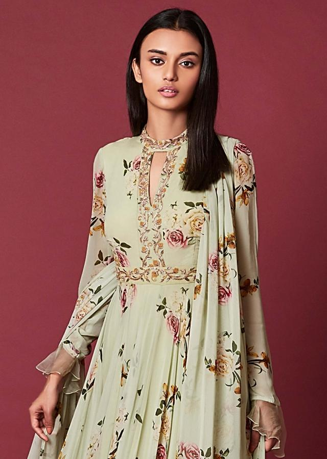 Tea Green Anarkali Suit In Georgette With Floral Print And Embroidery Work