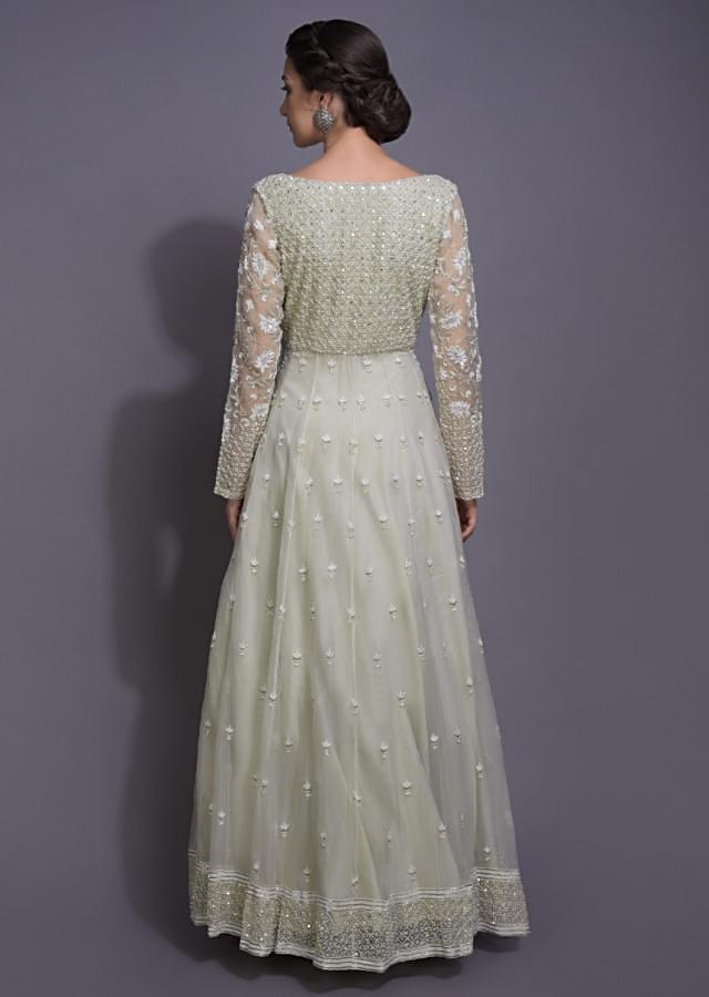 Tea Green Anarkali Suit With Embroidery Work In Geometric And Floral Pattern Online - Kalki Fashion