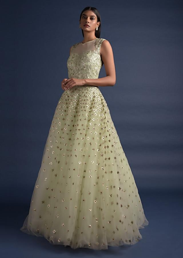 Tea Green Ball Gown With Gotta Patch Embroidered Floral Jaal And Buttis Online - Kalki Fashion