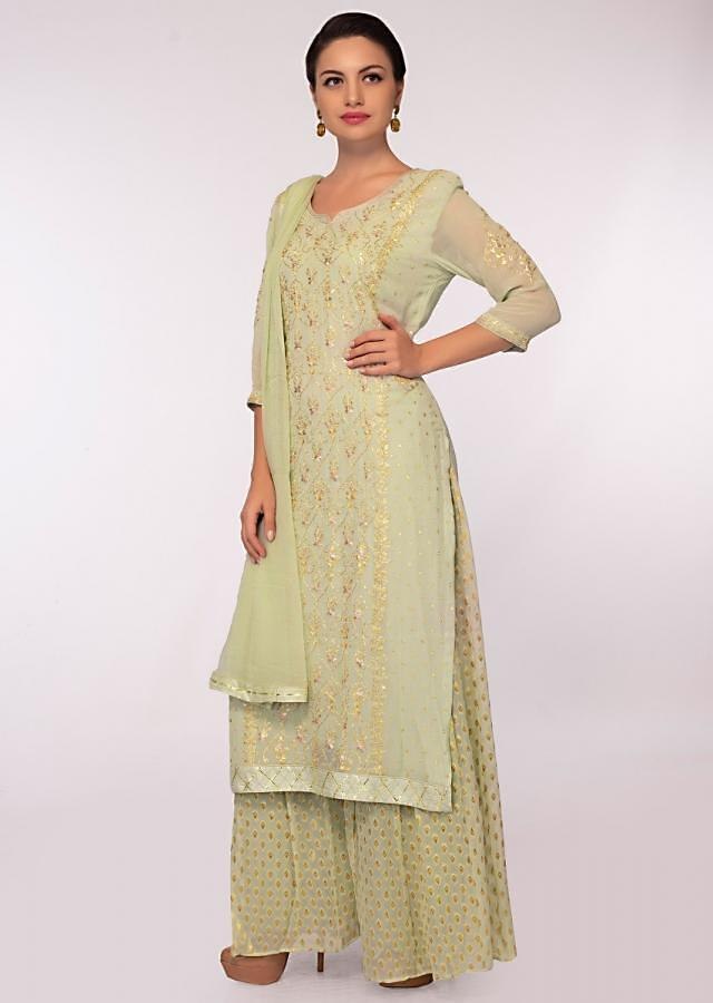 Tea Green Suit In Georgette With Floral Zari Embroidery And Butti Online - Kalki Fashion