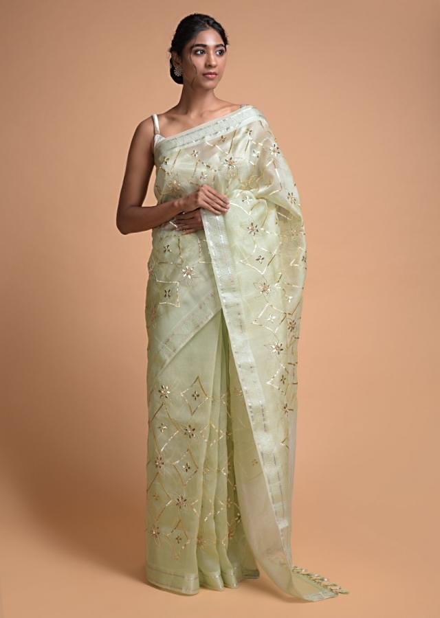 Tea Green Saree In Organza Silk With Gotta Patches In Geometric And Floral Jaal Pattern Online - Kalki Fashion