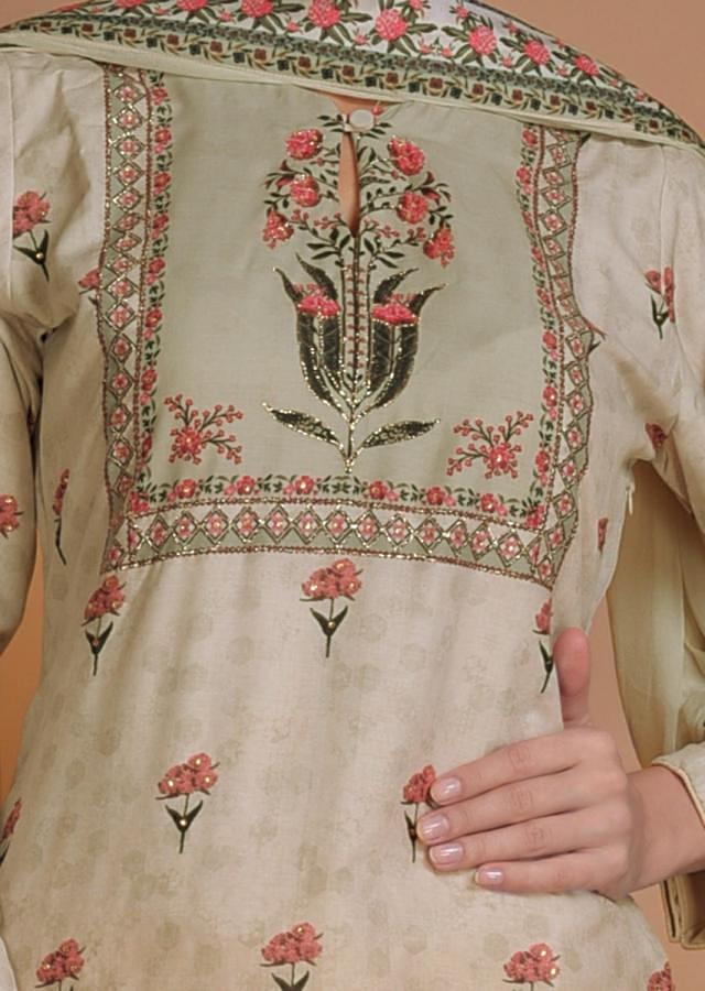 Tea Green Sharara Suit In Cotton With Floral Print And Zari Work Online - Kalki Fashion