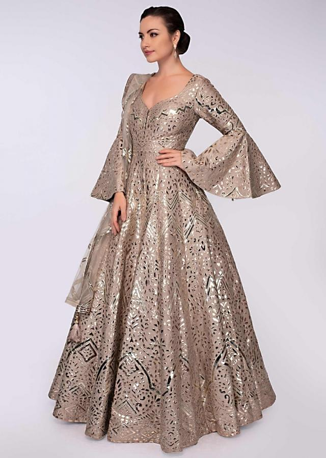 Teak Brown anarkali gown in patch work all over only on Kalki