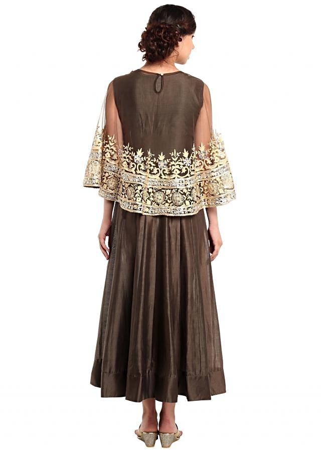 Teak Brown Suit With Thread Embroidered Cape Online - Kalki Fashion