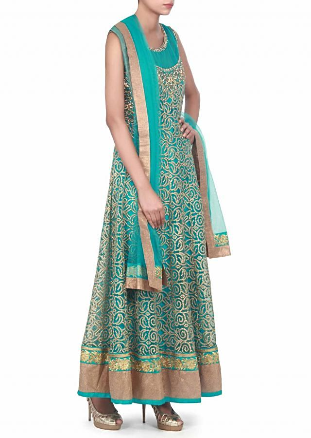 Teal anarkali suit adorn in mirror and kundan embroidery only on Kalki