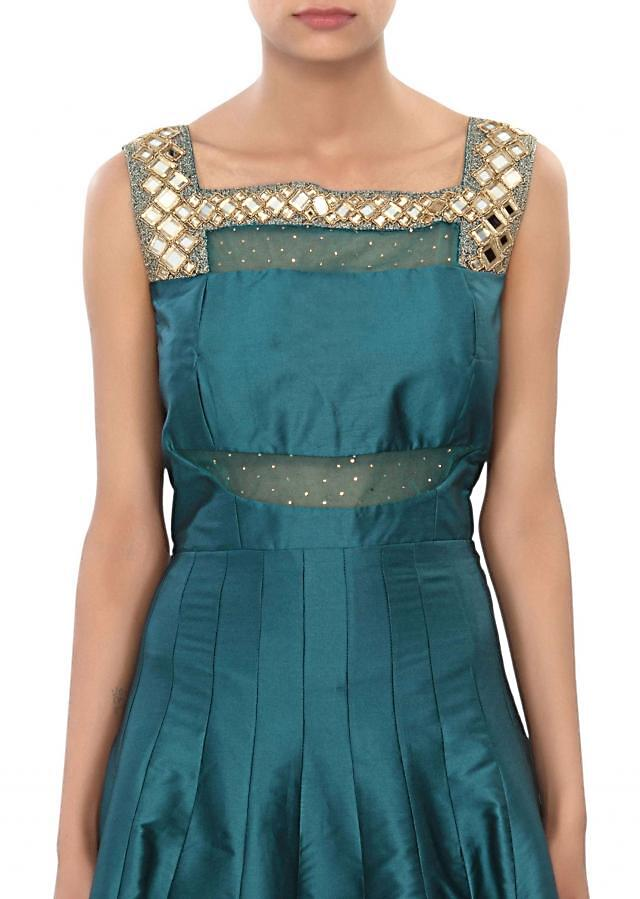 Teal anarkali suit embellished in mirror and zari embroidery only on Kalki