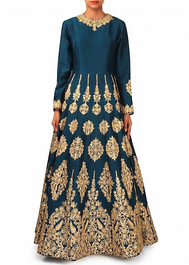 Teal blue anarkali suit embellished in zari only on Kalki