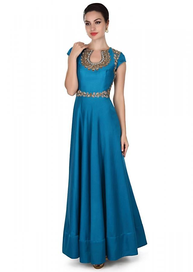 Teal blue anarkali suit in zari embroidered bodice only on Kalki