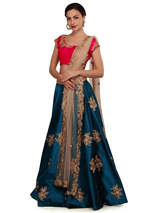Teal blue and coral lehenga Choli with gotta lace work only on Kalki