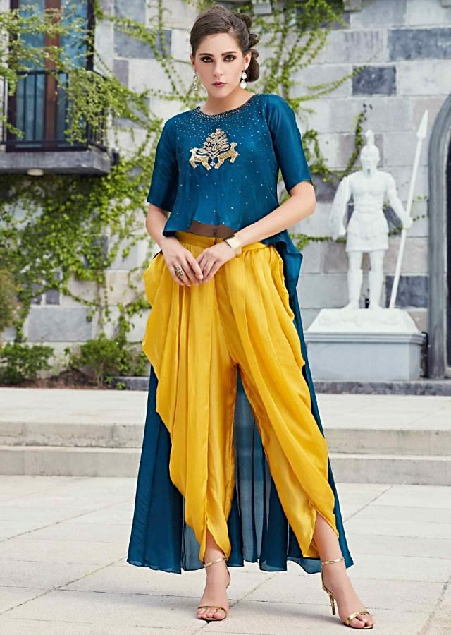 Teal Blue High Low Top Matched With Yellow Dhoti Pants Online - Kalki Fashion