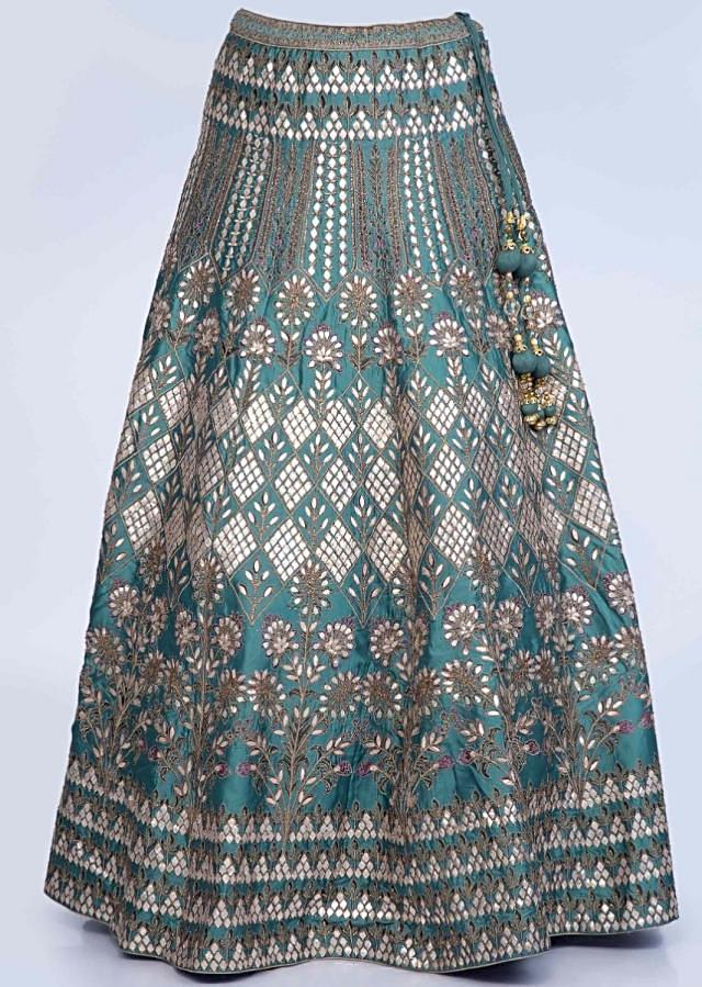 Teal Blue Lehenga Set Embroidered In Gotta Patch And Zari Jaal With Net Dupatta Online - Kalki Fashion