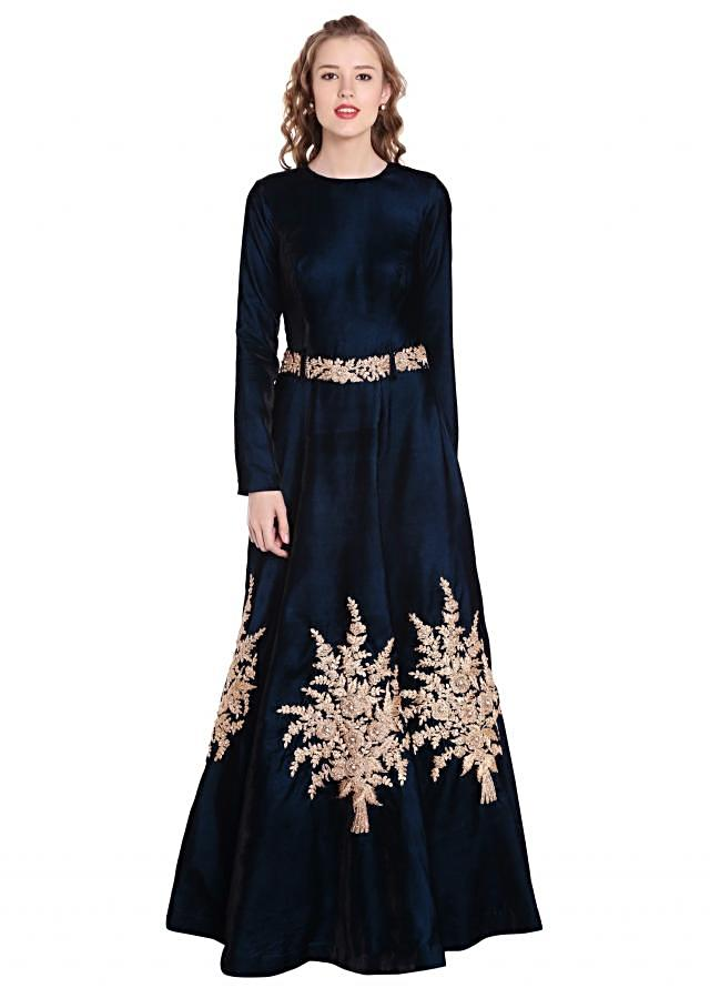 Teal blue gown features in embossed zari embroidery only on Kalki