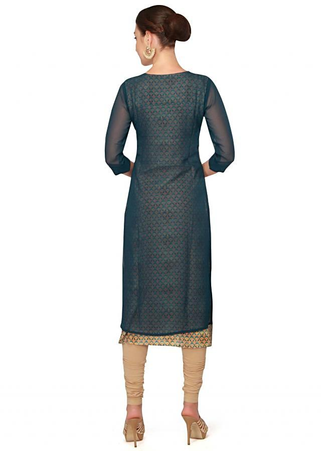 Teal blue kurti with printed lining only on Kalki