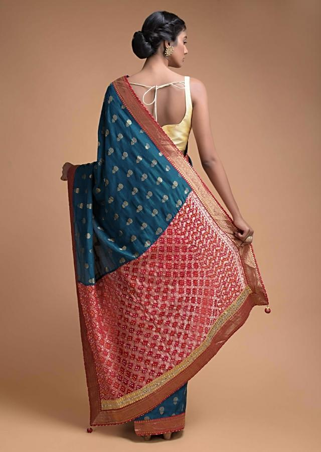 Teal Blue Saree In Silk With Weaved Floral Buttis And Bandhani Printed Pallu Online - Kalki Fashion