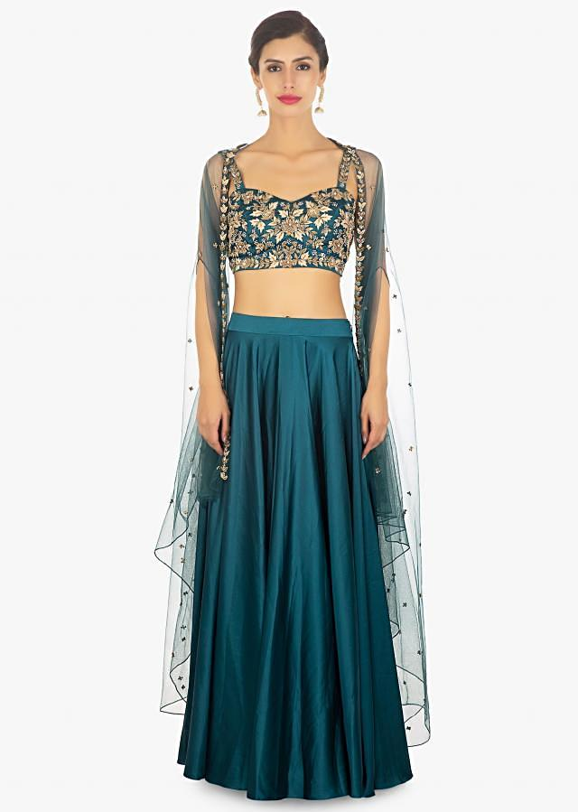 Teal Blue Skirt And Crop Top In Satin Paired With Long Net Jacket Online - Kalki Fashion