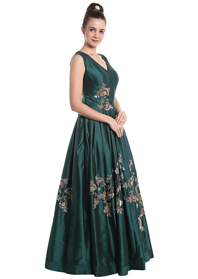 Teal blue silk gown adorned with sequins and zari motifs only on Kalki