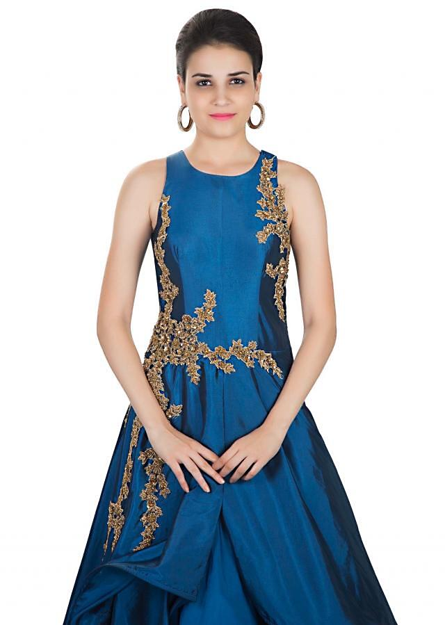 Teal Blue Taffeta Gown Crafted with Boning Details and Zardosi Floral Motifs only on Kalki