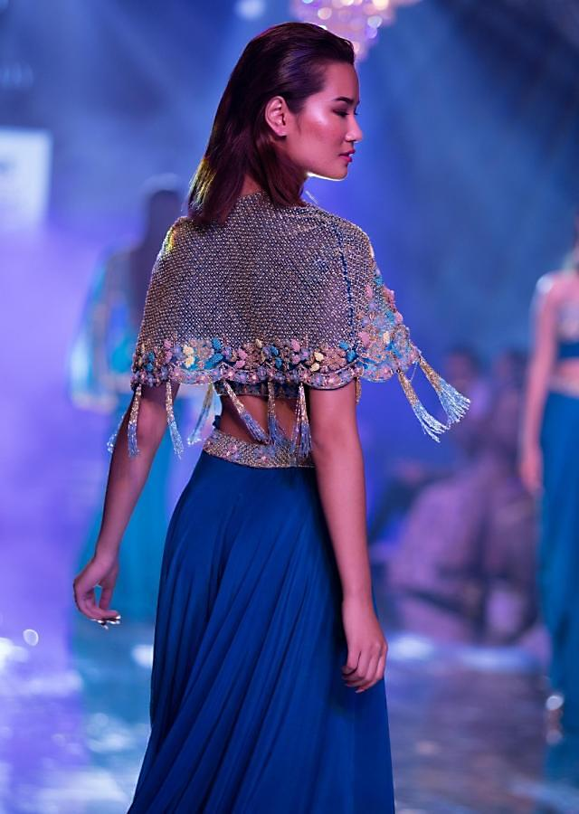 Seaside Blue Crop Top And Palazzo With Embossed Embroidery And Hand Crafted Cape Online - Kalki Fashion