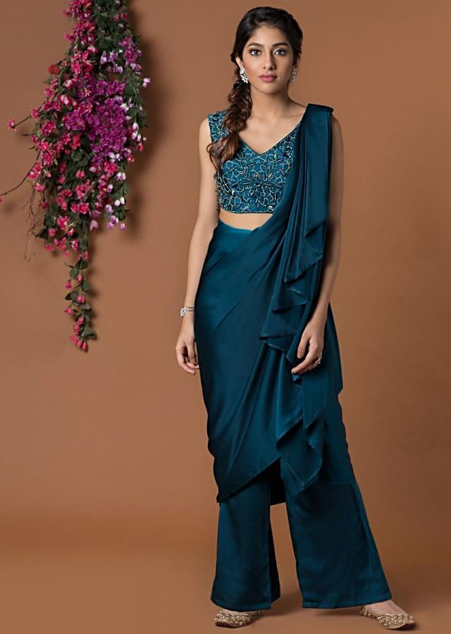 Teal Crop Top With Sari Draped Pants And Embellished Belt Online - Kalki Fashion